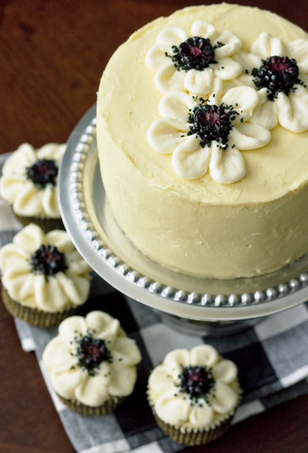 Ericas Sweet Tooth Vanilla Cake With Blackberry Mascarpone Filling